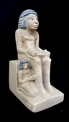 Ancient Egypt Seated Scribe Squatting 1400 BC Egyptian Antique Carved Sculpture