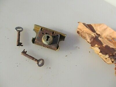 Vintage Brass Cabinet Lock Cupboard Chest Drawer Bolt Key Old Iron Antique Slope
