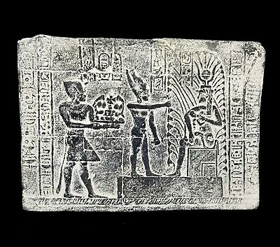 Relief Wall Plaque Egyptian Antique Stela W/T Hieroglyphics King Menes & Isis