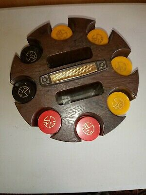 Vtg Catalin Bakelite Poker Chips, 299 Blue Moon, Red Swirl, Butterscotch W/ Rack