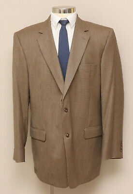 Mens 46L Jos. A. Bank Brown Houndstooth 100% Wool Blazer