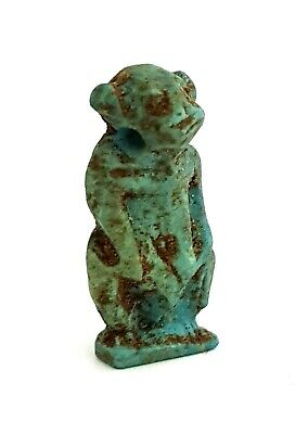 Monkey Baby Baboon Amulet Rare Antiquity Figurine Porcelain Faience Babi God