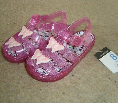 Girl's Pink Glitter Butterfly Jelly Sandals Size 8 UK Infant BNWT Gel Gelly Jel