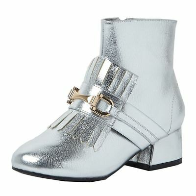 Girl's RIVER ISLAND Silver Loafer Ankle Detail Boots Size 2 UK NWOB Shoes