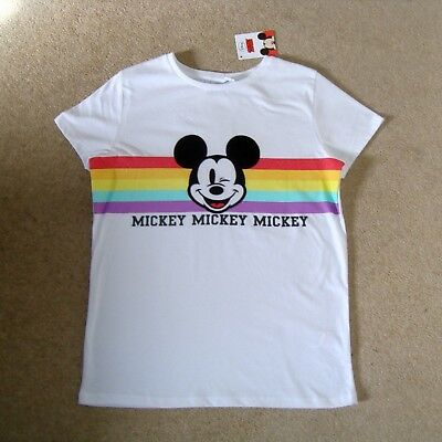 Girl's DISNEY MICKEY MOUSE Official Tee 12-13Y BNWT White Rainbow Wink T-Shirt