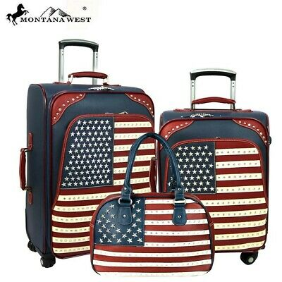 US04-L1/2/3 Montana West American Pride Collection 3 PC Luggage Set NV