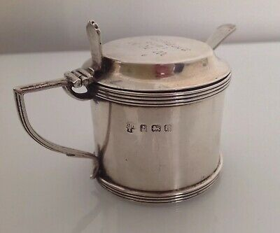 Solid Silver Mustard Pot With Original Spoon And Liner