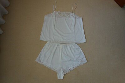 Vintage St Michael (M&S) White Camisole and Matching Knickers Size 18 VGC