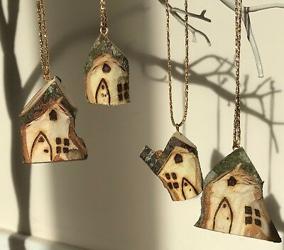 15x Christmas Rustic Carved fairy House Tree Decoration Wooden Xmas Hanging