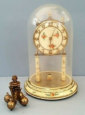 West German Vintage Mantel Clock Parts With Glass Dome