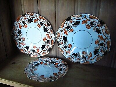 Vintage Antique Pair Of Clifton China Imari Floral Sandwich Plates And Tea Plate