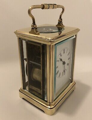 Beautiful Antique French Striking Carriage Clock Solid Brass 8 Days Movement