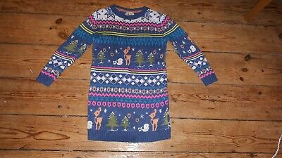 Girls NEXT warm Winter Soft Christmas Festive Jumper Knitted Dress 6 5-6