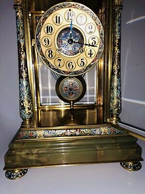 Antique French Cloisonné 4 Glasses Brass Clock Amazing Champleve Enamel Details