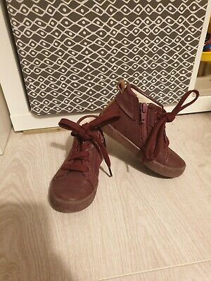 Clarks Girls Hitop Trainers Burgandy Red Lace and Zip 7g