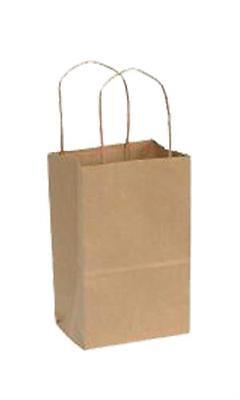 "Paper Shopping Bags 250 Kraft Gift Merchandise 5 1/4"" x 3 1/2"" x 8 1/4"" Recycled"