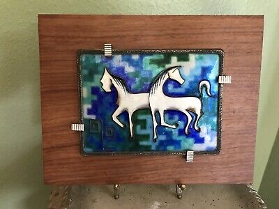 MCM Enamel On Hallmarked Silver Wall Plaque Of Horses