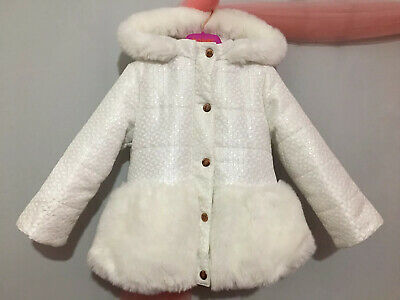 Girls Designer Ted Baker White Geometric Textured Faux Fur Trim Coat 2-3yrs
