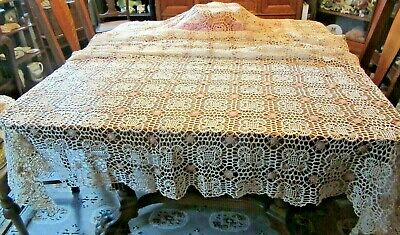 "Antique Hand Crochet ECRU & Beige Tablecloth 60"" x 88"""