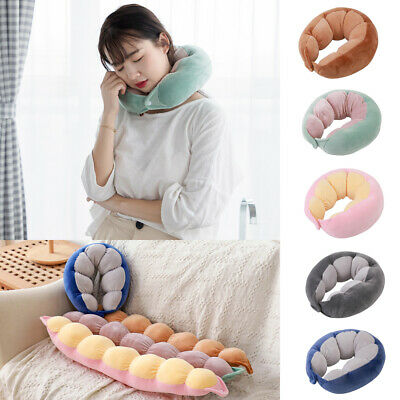 Memory Foam Pea Shaped Travel Pillow Neck Support Head Rest Airplane Cushion