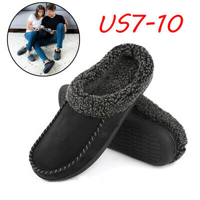 Men Moccasin Suede Slippers Fuzzy Plush Wool-Like Memory Foam  Clogs House Shoes