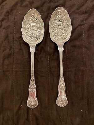 Pair Antique Repousse Ornate EPNS Berry Serving Spoons Nickel Silver England BIG