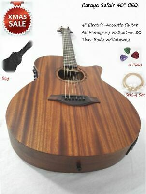 Caraya safair 40-CEQ All-Mahogany Parlor Acoustic Guitar w/EQ + Gig Bag +Strings