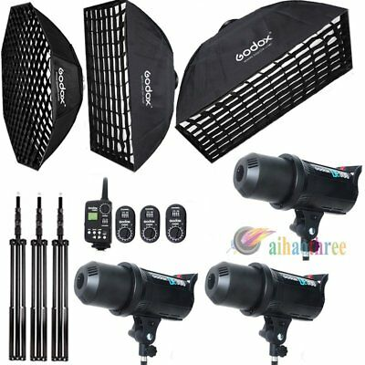 Godox DE300 3x300W Photography Studio Strobe Flash Light Softbox Trigger Kit【AU】