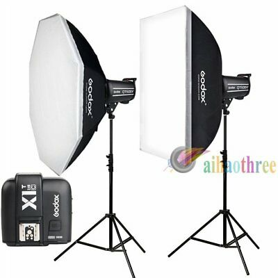 2Pcs Godox QT400II 400W 2.4G HSS 1/8000s Studio Strobe Flash Light Kit For Canon