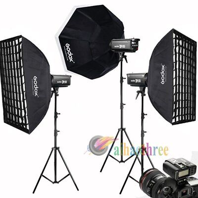3Pcs Godox DP1000II 1000W 2.4G Wireless Studio Strobe Flash Softbox Trigger Kit