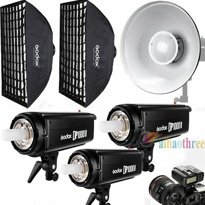 3Pcs Godox DP1000II 1000W 2.4G Wireless Strobe Flash Trigger Softbox Deauty Dish