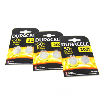 6x Duracell CR2025 3V Lithium Button Battery Coin Cell DL/CR 2025 Exp. 2027 / UK
