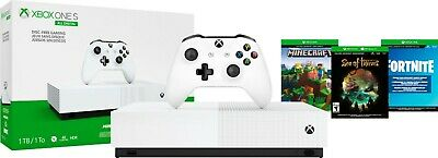 Microsoft Xbox One S 1TB White All Digital Edition 3 Game Bundle