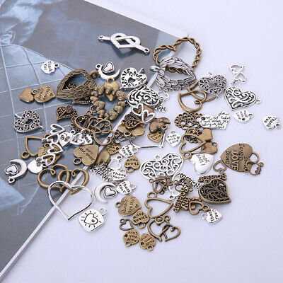 50pcs/lot Vintage Metal Mixed Hearts Charms Retro Love Pendant Jewelry Making