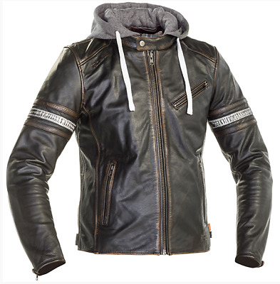 Richa Toulon 2 Black Leather Hooded Motorbike Motorcycle Jacket