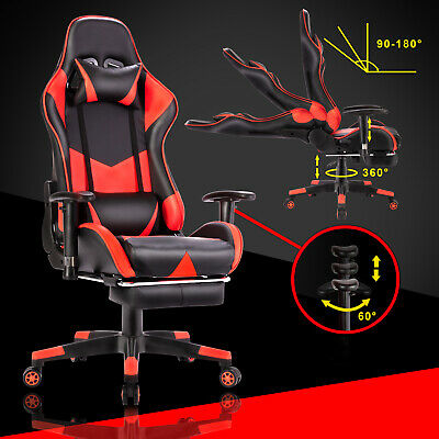 Executive Gaming Office Chair Racer Recliner Computer Chairs Racing Seat Black