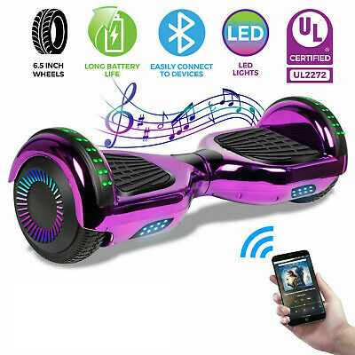 "Hoverboard Bluetooth Chrome Electric Self Balancing Scooter 6.5"" Without Bag LED"
