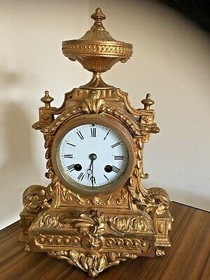 Vintage Small late 19 Th Century French Mantel Clock In Gilt /Spelter Works