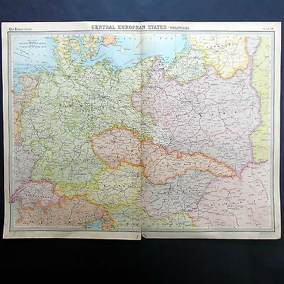 Central European States Political Map - Vintage 1922 Map by Bartholomew