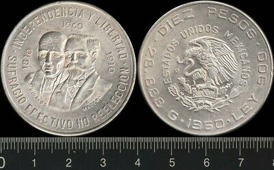 Mexico: 1960 10 Pesos, 150th Anniversary War of Independence, silver coin