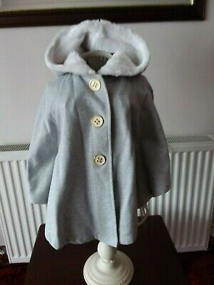 Bnwot -Maggie & Zoe - Girls - Silver Grey Hooded Cape Style Coat - Age 3-4 Years