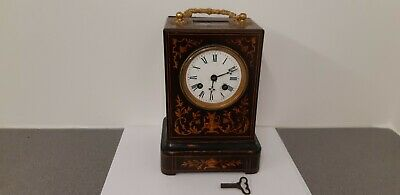 Circa 1840s 1850s  French 8 Day Chiming Inlaid Wooden Carriage Clock