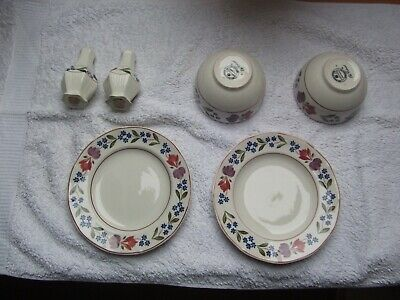 Adams OLD COLONIAL Sugar Bowls Salt and Pepper Set Plates Chipped/Cracked