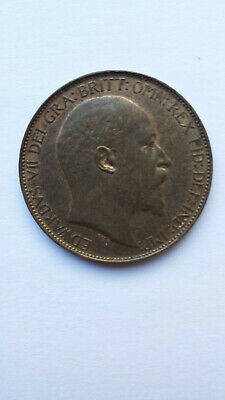 UK halfpenny 1905 - Edward VII. Almost UNC and darkly toned