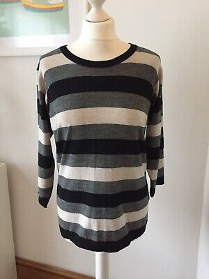 Margaret Howell 100% wool black and cream striped jumper size 14