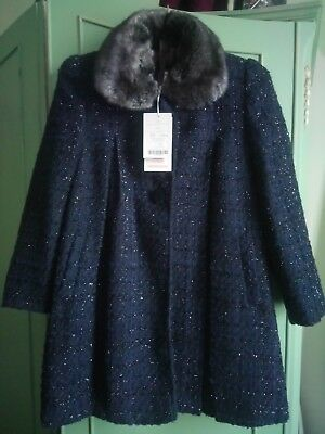 Monsoon Girls navy blue sparkly coat with faux fur collar aged 9-10years BNWT