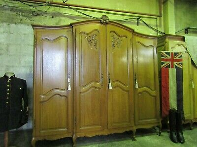 Pretty French carved light oak Louis xv breakfront armoire,wardrobe,Flat packs