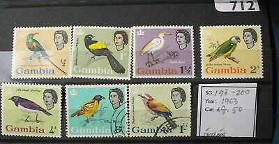 Gambia QEII 1963 Birds mint/used values to 1/-.