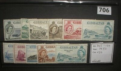 Gibraltar QEII 1953 mint/used values to 1/-.   Cat: £32