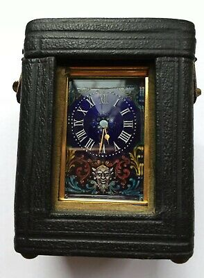 ANTIQUE MINIATURE CARRIAGE CLOCK PAINTED DIAL 6cm 1880